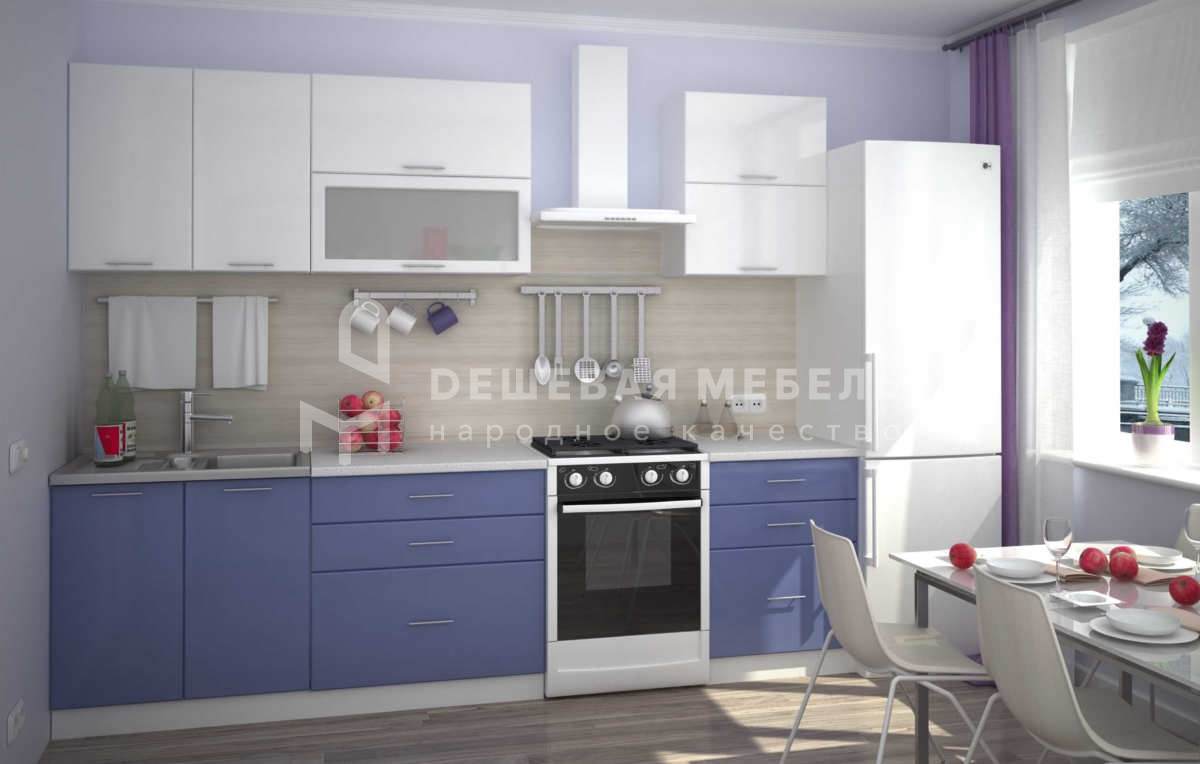 Бело синяя кухня