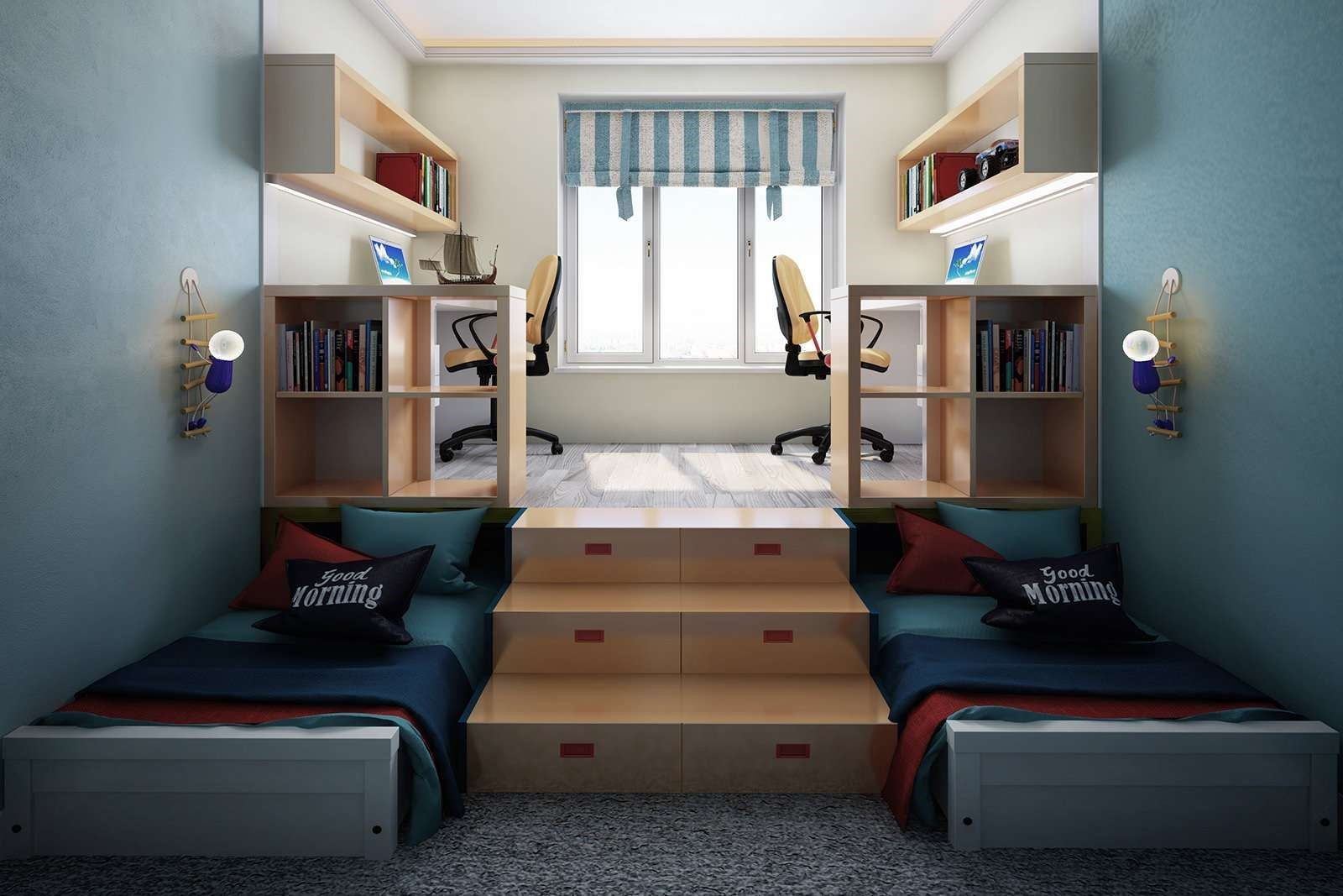 поделить детскую комнату на две зоны