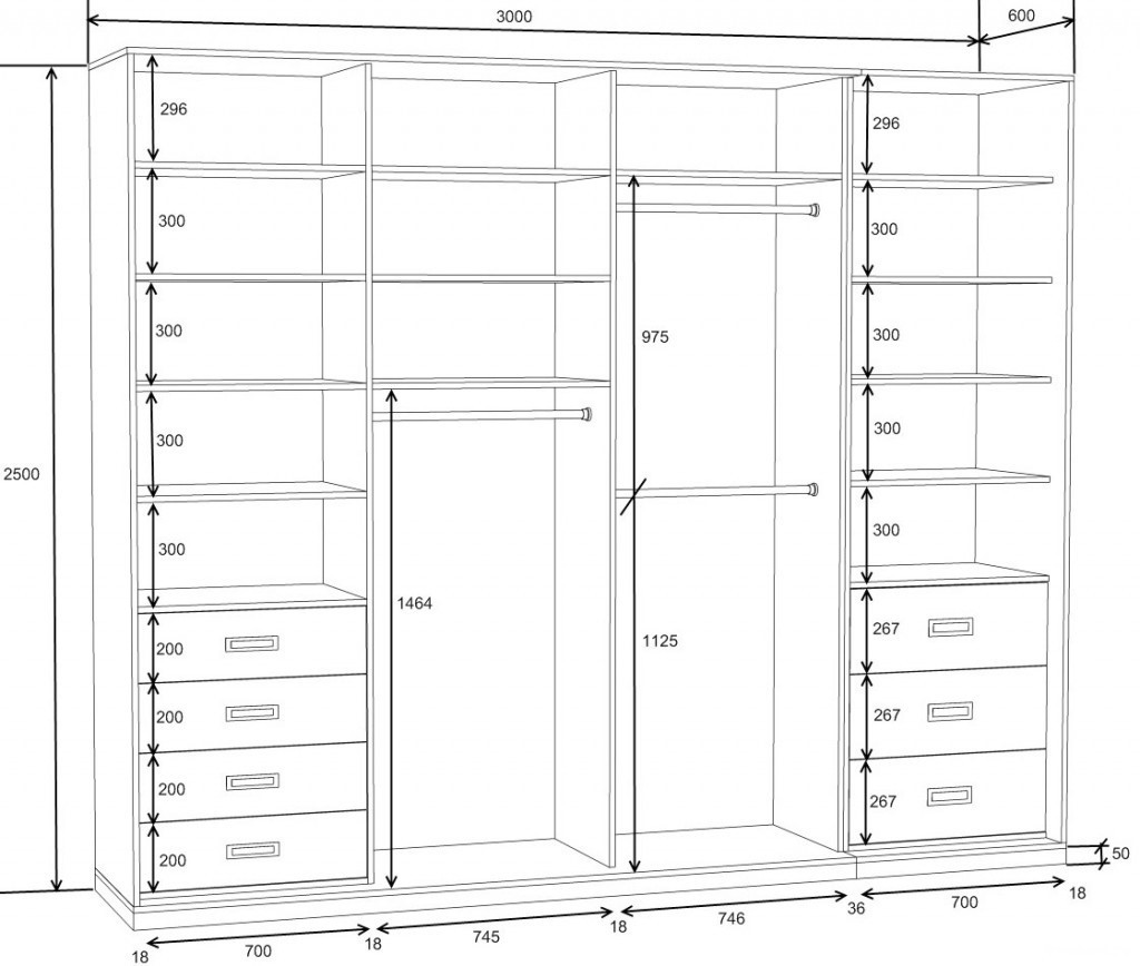 схема встроенного шкафа купе своими руками